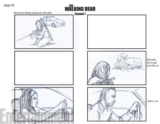 Lo storyboard di una scena di The Walking Dead
