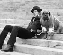 Sylvester Stallone sul set di Rocky nel 1975