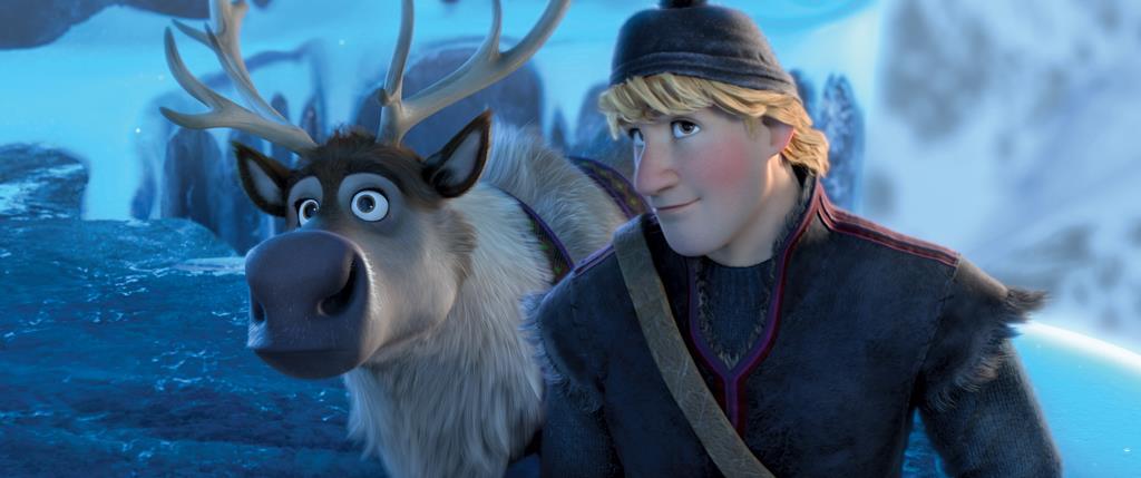 La renna Sven insieme a Kristof: espressioni dubbiose
