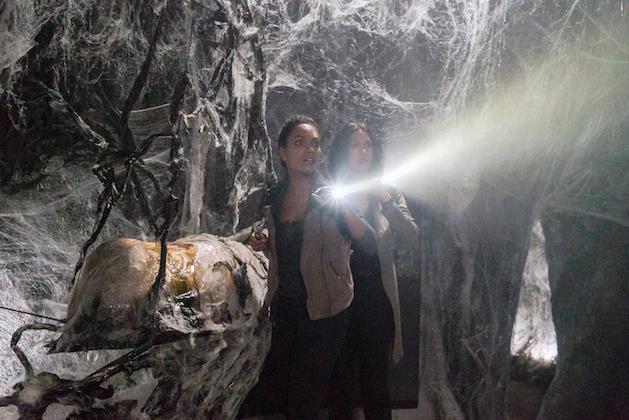 Janny e Diana esplorano una caverna piena di ragnatele