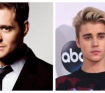 Primo piano di Justin Bieber e Michael Bublé