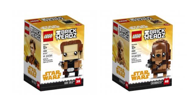 Dettagli dei box dei set di LEGO Solo e Chewbacca della linea Brickheadz