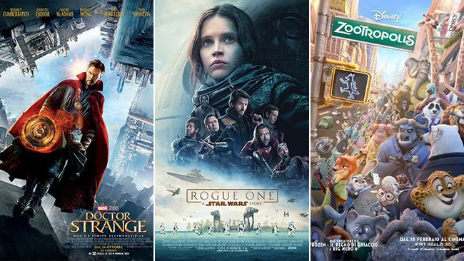 Le locandine dei film Doctor Strange, Rogue One: A Star Wars Story, Zootropolis
