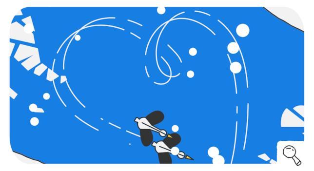 Due cigni, protagonisti del Doogle Google del 14 febbraio 2018, pattinano sul ghiaccio