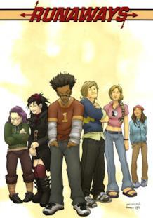 Una delle copertine di Runaways disegnate da Adrian Alphona con i sei protagonisti della serie