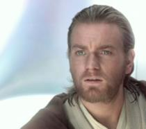 Un primo piano di Ewan McGregor come Obi-Wan Kenobi