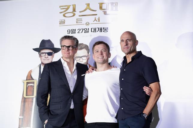 Colin Firth, Taron Egerton e Mark Strong