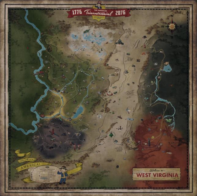 L'intera mappa di Fallout 76