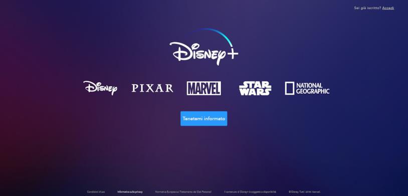 Screen della Home del sito in versione italiana di Disney+