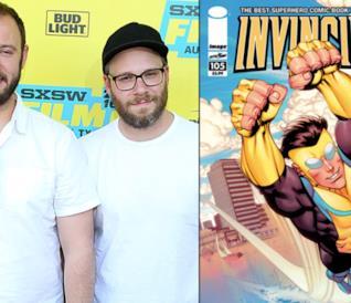 Un collage tra Invincible e Seth Rogen