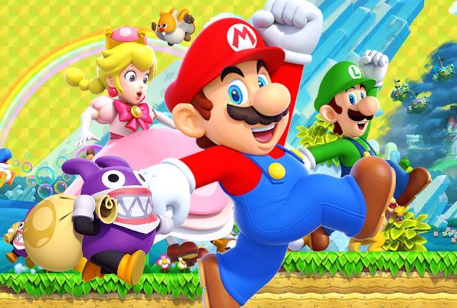 Una key art di New Super Mario Bros. U Deluxe che mostra i protagonisti