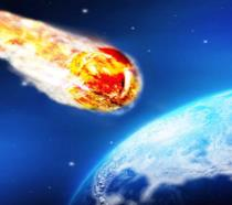 Un'illustrazione di un meteorite diretto verso la Terra