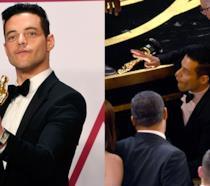 Rami Malek con la statuetta in mano