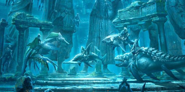 Disegno di alcune rovine di Atlantide e alcuni suoi cittadini a cavallo di creature marine