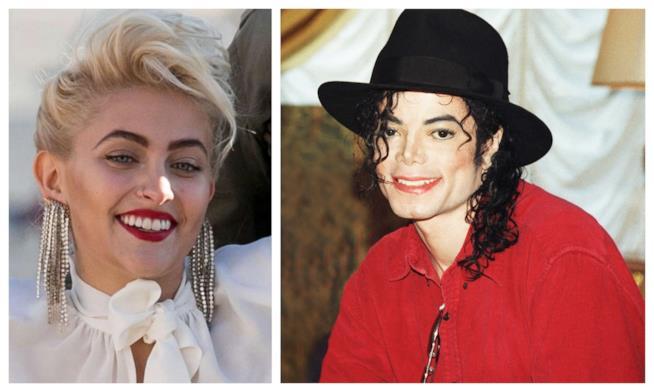 Primo piano di Michael Jackson e di sua figlia Paris