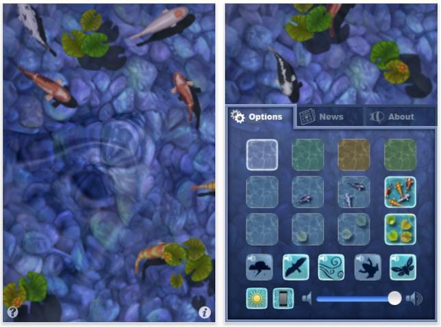 Una schermata dell'app iOS Koi Pond