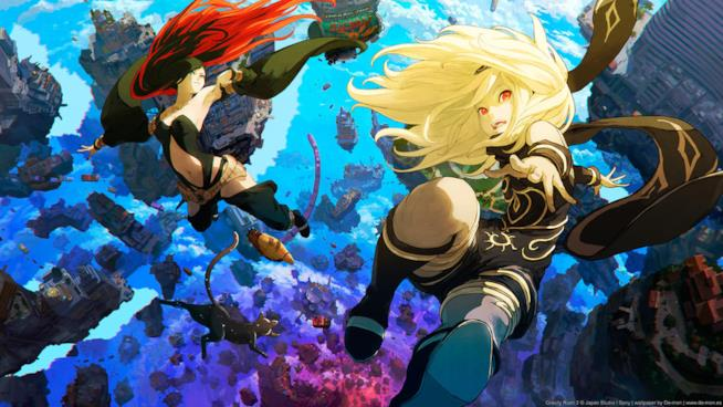 L'eroina di Gravity Rush 2 fluttua nell'aria sulla cover del gioco