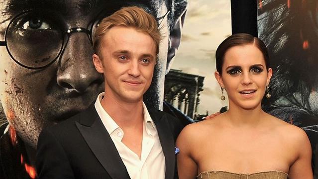 Emma Watson e Tom Felton durante la prima di Harry Potter e i doni della morte Parte 2