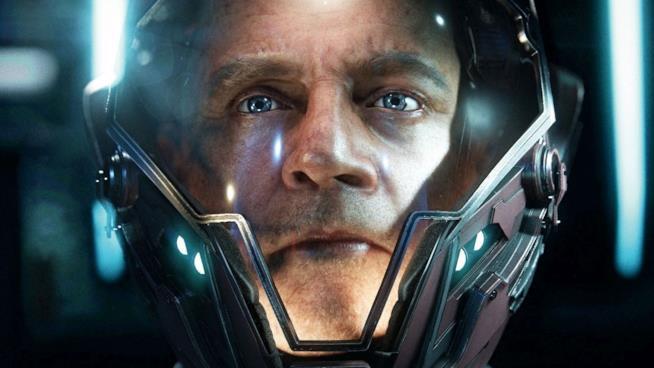 Un primo piano di Mark Hamill nel videogame Star Citizen