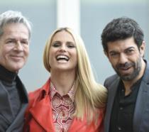 Sanremo 2018:  Baglioni, Hunziker e Favino durante la conferenza stampa