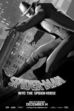 Spider-Man Noir nel poster di Spider-Man: Un nuovo universo dedicato al suo personaggio