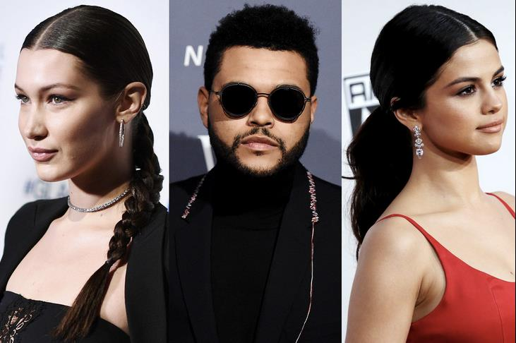 Un collage tra Bella Hadid, Selena Gomez e The Weeknd