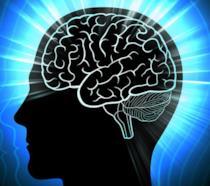 Un'illustrazione di un cervello umano che irradia una luce blu