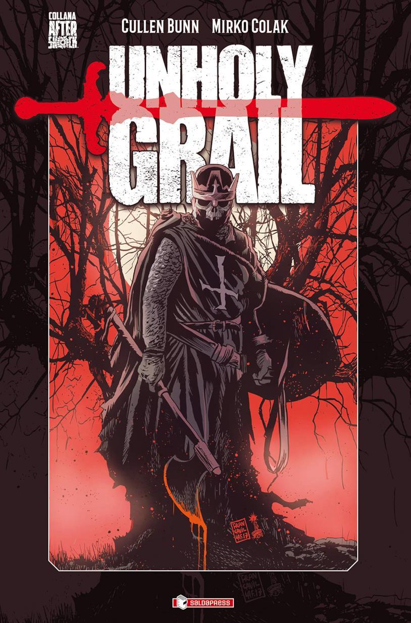 cover del volume Unholy Grail, con un templare in versione infernale