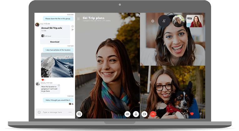 Esempio di videochiamata di gruppo su Skype