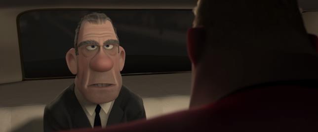 Il serioso e grigio Rick Dicker e (di spalle) Mr. Incredible