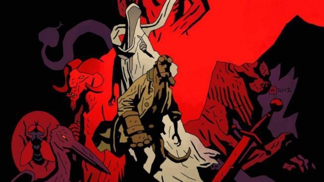 Hellboy in un disegno di Mike Mignola