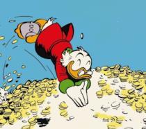 Paperon de' Paperoni si tuffa nella sua piscina di monete d'oro