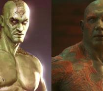 Jason Momoa e Dave Bautista nel ruolo di Drax
