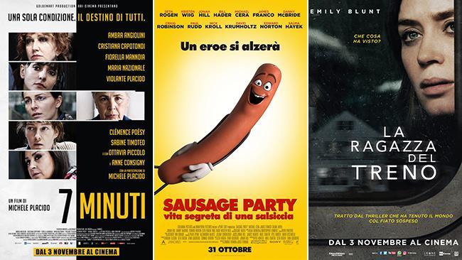 Poster dei film 7 Minuti, Sausage Party - Vita Segreta di una Salsiccia e La Ragazza del Treno