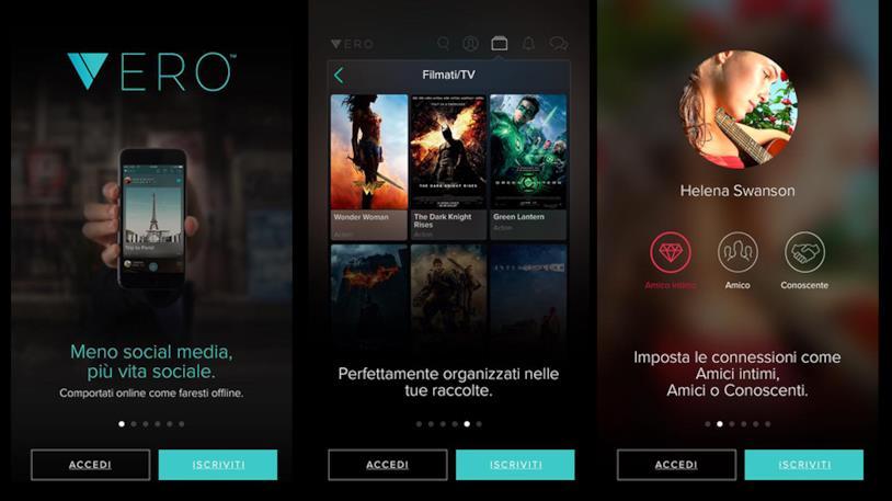 Homepage di Vero dove inserire i dati d'accesso o iscriversi