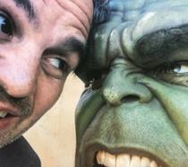 Mark Ruffalo sul set di Thor: Ragnarok nei panni di Hulk