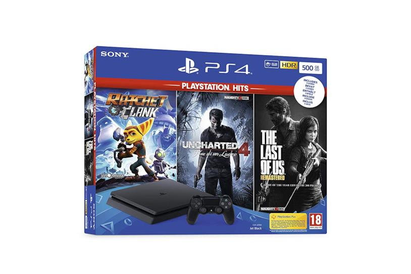 Playstation 4 Slim 500GB F Chassis + Rachet & Clank + The Last Of Us (Remastered) + Uncharted 4