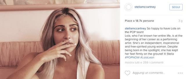 Lourdes in uno scatto postato da Stella McCartney su Instagram