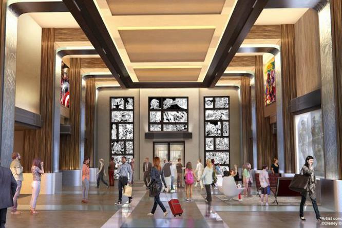 Concept art della hall del Marvel Hotel a Parigi