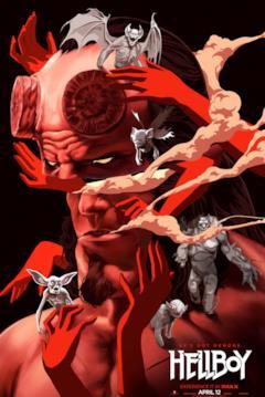 Hellboy in un poster in stile fumetto