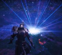 Il momento della distruzione dell'isola di Fortnite in uno screen di gioco