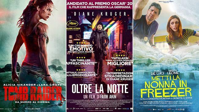 I poster dei film Tomb Raider, Oltre la notte e Metti la nonna in freezer