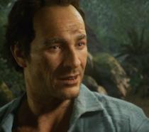 Un primo piano di Sam Drake dal trailer di lancio di Uncharted 4