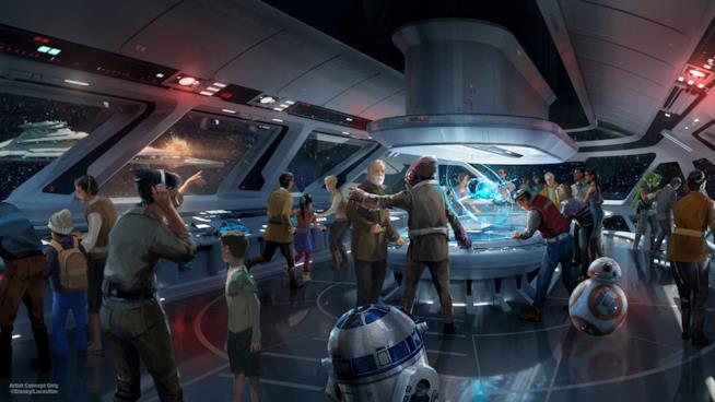 Un'anteprima dell'area a tema Star Wars Galaxy's Edge di prossima apertura nei parchi Disney