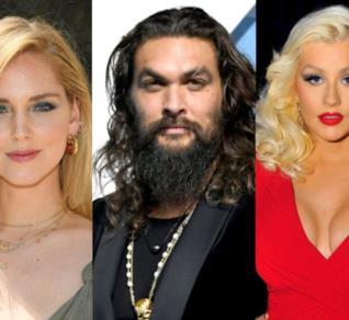 Collage tra Jason Momoa, Chiara Ferragni a Christina Aguilera