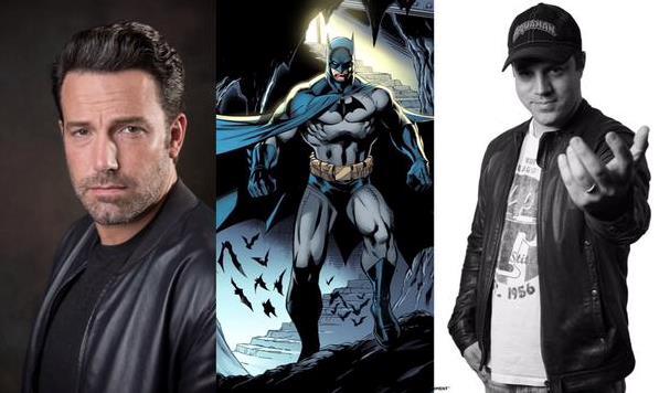 Un collage tra Ben Affleck, Batman e Geoff Johns