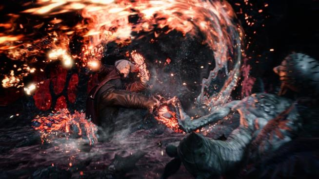 Dante in azione in Devil May Cry 5