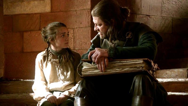 Maisie Williams e Sean Bean in Game of Thrones