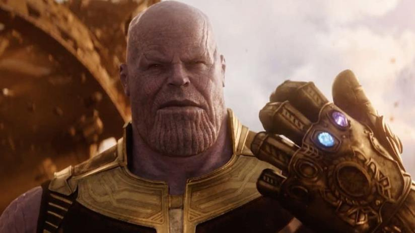 Un primo piano di Thanos in Avengers: Infinity War