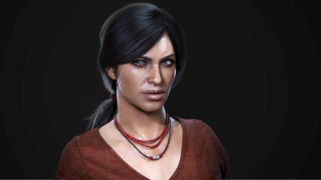 Un primo piano di Chloe da Uncharted: The Lost Legacy